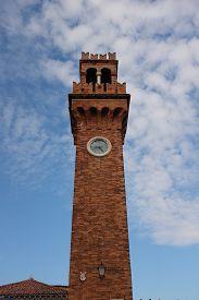 Vertical Shot Of The Santo Stefano Bell Tower In Murano, Venetian Lagoon, Italy.
