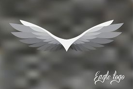 Vector Eagle Logo Stylized And Simplified On Gray Background.