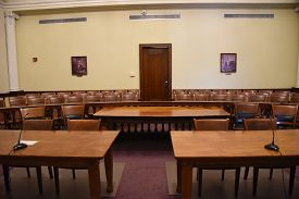 Courtroom Interior Tables And Chairs Of Defense And Prosecution, Wyandot County Courthouse, Upper Sa