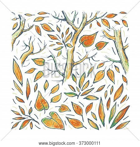 Autumn Vector Abstract  Hand Drawn Illustration. Autumn Background With Colorful Leaves And Trees. D