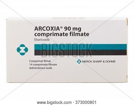 Bucharest, Romania - March 27, 2016. Arcoxia 90 Mg, Film Coated Tablets By Merck Sharp And Dohme Com