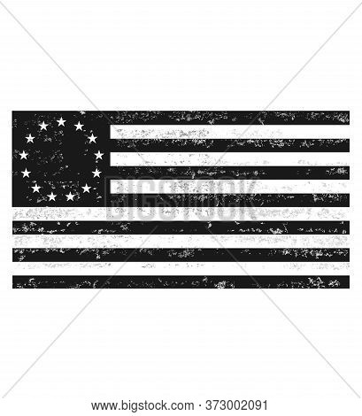 Distressed Black And White Betsy Ross Flag.grunge Black And White Betsy Ross Flag