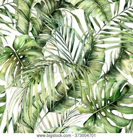 Watercolor Seamless Pattern With Jungle Palm Leaves. Hand Painted Exotic Leaves And Branches Isolate