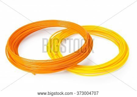 Orange And Yellow Filament 3d Printer Isolated On White Background