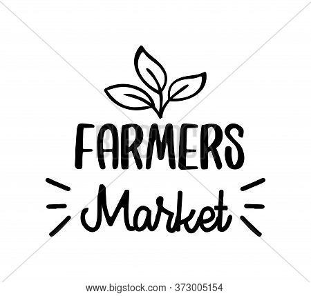 Farmers Market Hand Drawn Doodles Badges, Logo, Icon, Label. Vector Brush Lettering Typography - Far