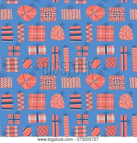 Gift Present Box Flat Hand Drawn Seamless Pattern. Ideal For Wallpaper, Textile, Backdrop, Wrapping