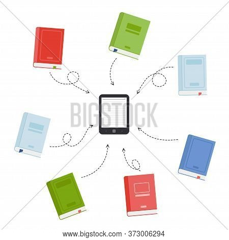 Download Books To E-book. A Lot Of Books In One Electronic Book. Vector Illustration
