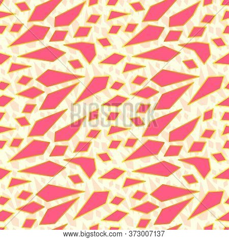 Abstract Pattern Design Inspired In Sharp Pastel Pink Fragments With Gold Foil Outline. Vector Patte