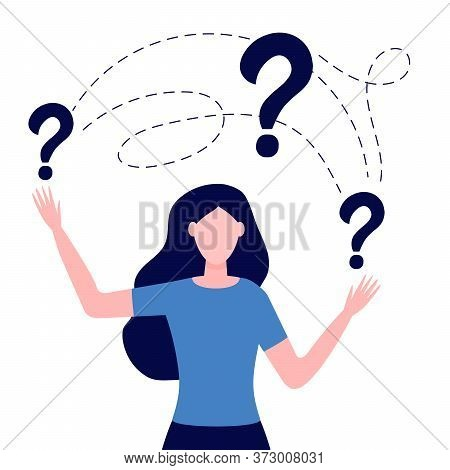 Smart Puzzled Woman Asking Question. Girl Surrounded Question Marks. Concept Of Inquiry, Frequently