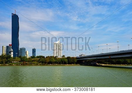 Vienna, Austria - September 2018:  City View On The Banks Of Danube River