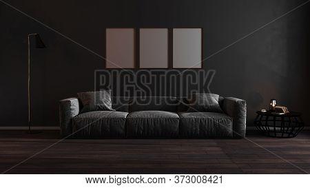 Golden Vertical Frames Mock Up In Dark Luxury Living Room Interior Background, Golden Poster Frame M