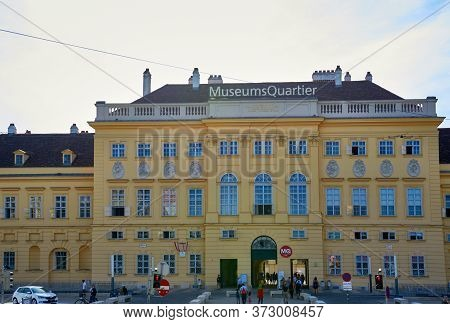 Vienna, Austria - September 2018: Frontal View On The Building Of Museum Quartier In The City Center