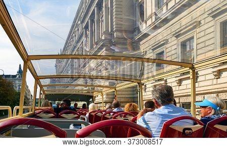 Vienna, Austria - September 2018: Hop On Hop Off Bus Tour Around The City Streets