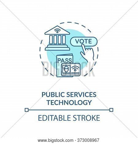 Public Service Technology Turquoise Concept Icon. Electronic Government. Online Voting Poll. E Gover
