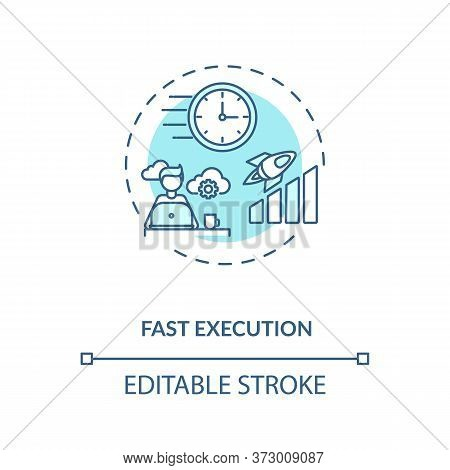 Fast Execution Turquoise Concept Icon. Trading Strategy. Digital Transformation. Successful Project
