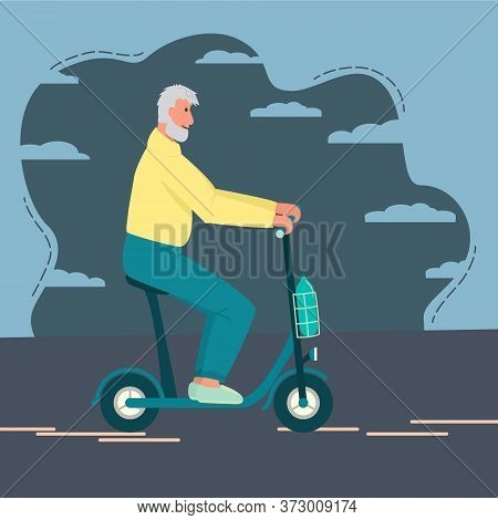 Grandfather Rides A Scooter. Modern Electric Transport, Mobility Of Pensioners, Ecological Lifestyle