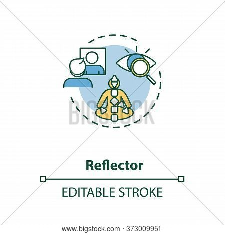 Reflector Concept Icon. Energy Center In Body Chart Graph. Mirroring Environment. Human Design Type