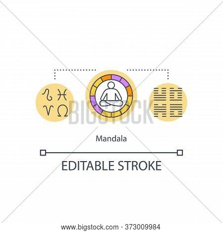 Mandala Concept Icon. Esoteric Sign. Spiritual Knowledge. Hindu And Buddhism. Symbolic Graph Idea Th