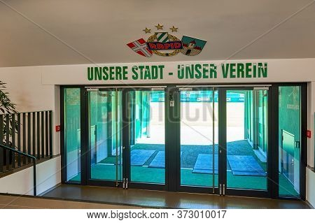 Vienna, Austria - September 2018: Behind The Curtains At Fc Rapid Stadium