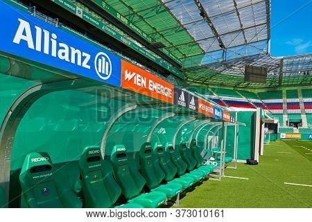 Vienna, Austria - September 2018: Squad Bench At Fc Rapid Stadium