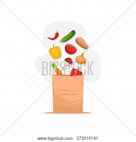 Grocery Semi Flat Rgb Color Vector Illustration. Farmer Market Products. Fresh Vegetarian Foodstuff
