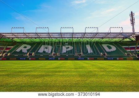 Vienna, Austria - September 2018: Overview On Fc Rapid Stadium