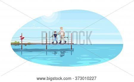 Family Walk On Bridge Semi Flat Vector Illustration. Grandparent Take Grandchild For Fishing. Summer