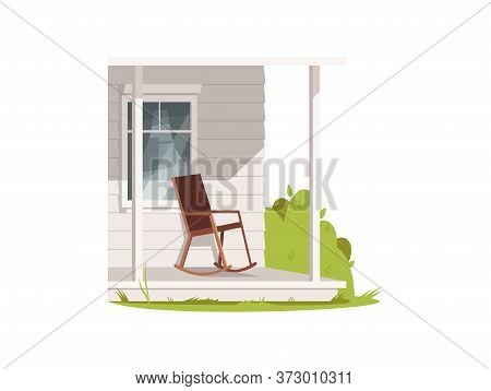 Patio With Armchair Semi Flat Rgb Color Vector Illustration. Comfort Porch Of Village House. Chair O