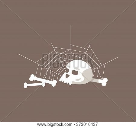 Skull And Bones Semi Flat Rgb Color Vector Illustration. Old Human Remains In Spider Web Isolated Ca