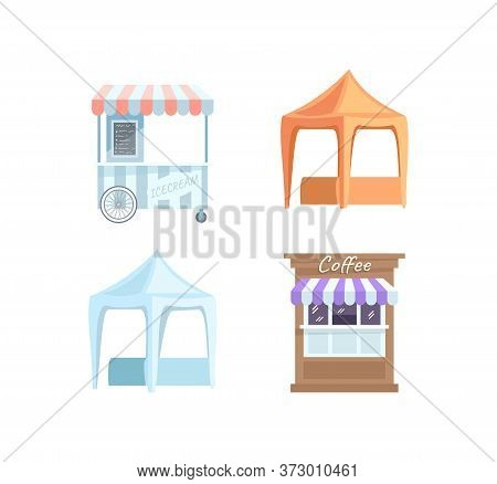 Street Fair Stall Semi Flat Rgb Color Vector Illustrations Set. Marketplace, Festival Stands. Ice Cr