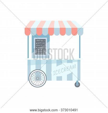 Ice Cream Trolley Semi Flat Rgb Color Vector Illustration. Street Kiosk, Icecream Vending Booth Isol