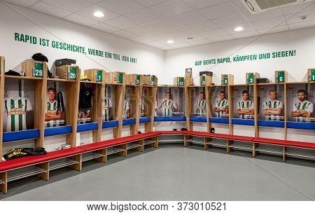 Vienna, Austria - September 2018: Home Changing Room At Fc Rapid Stadium