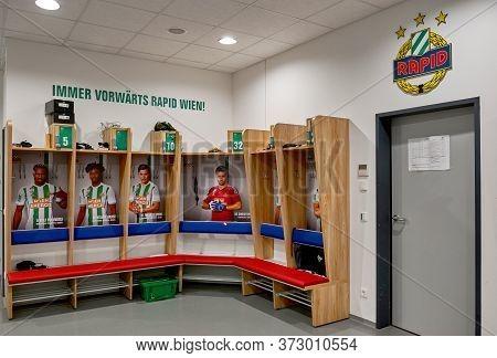Vienna, Austria - September 2018: Changing Room At The Fc Rapid Stadium