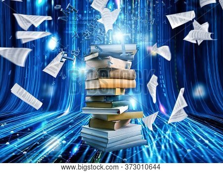 Digitization Process From Books To Ebooks. From Paper To Digital
