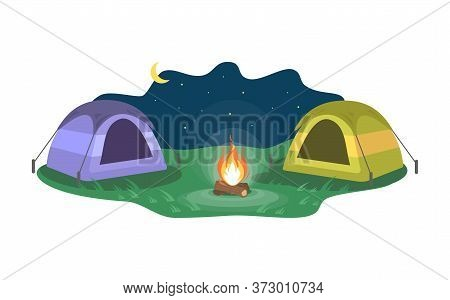 Nighttime Camp Semi Flat Vector Illustration. Opposing Tents Near Bonfire. Camping Outdoors During N