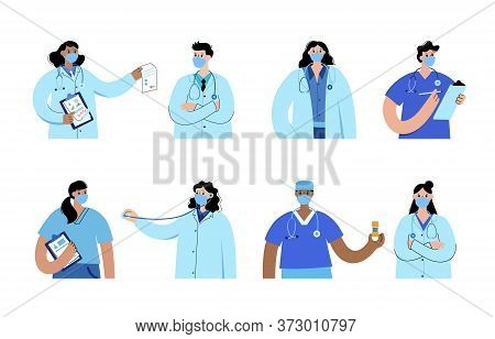 Set Of Different Isolated Medical Specialists. Team Of Doctors Is Ready To Help Patients In Clinics,