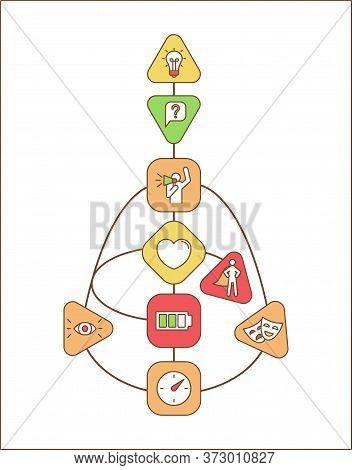 Bodygraph Vector Infographic Template. Spiritual Channels. Human Design System Ui Web Banner With Li