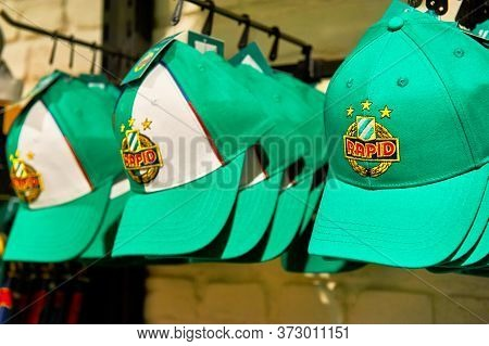Vienna, Austria - September 2018: Caps On Sale In The Fan Shop At Fc Rapid Arena