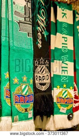 Vienna, Austria - September 2018: Scarves On Sale In The Fan Shop At Fc Rapid Arena