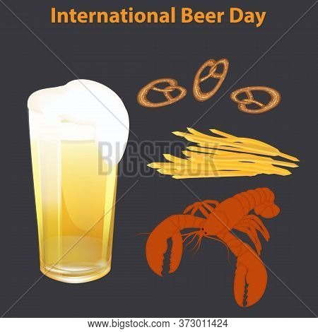 Lobster, Pretzel, French Fries, Glass Of Beer - Black Background - Vector. International Beer Day