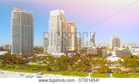 South Beach, Miami Beach, South Pointe Park, Government Canal. Florida. Vintage Overlay Effect. Miam