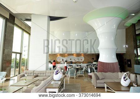 Antalya, Turkey - April 21: The Lobby With A Bar Of Maxx Royal Belek Luxury Hotel On April 21, 2014