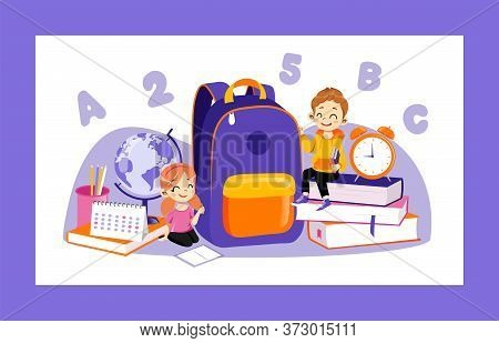Concept Of Back To School. Set Of Kids Ready To Study In New Academic Year. Happy Classmates Boy And