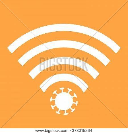 Wifi Signals And Covid-19 Conspiracy. Vector Icon Design Of Coronavirus 5g Zone Concept On Orange Ba