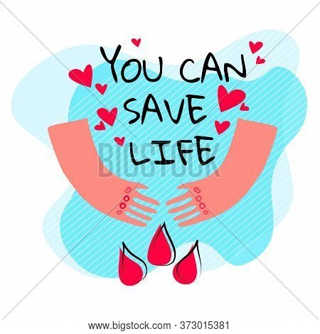 Stock Vector Illustration Of Blood Donation Design Concept. Creative Medical Donor Poster, Banner Wi