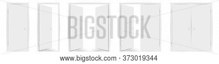 Blank White Doors Mock Up Set. Vector Illustration. Open And Closed, Single And Double Doors. Round