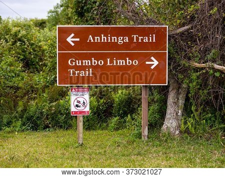 Anahinga And Gumbo Limbo Trail Directional Sign In Everglades