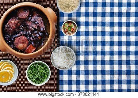 Brazilian Feijoada. Top View. Copy Space. Tradicional Brazilian Food.