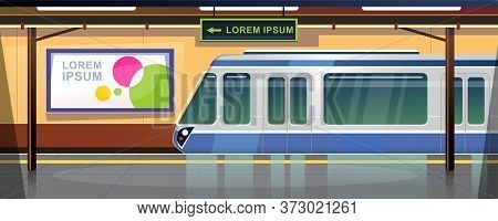 Metro Station Or Railway Terminal Concept. Subway Station Interior Design With No People. Sign Wit D