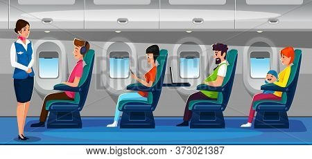People In Airplane Flying On Vacation Concept